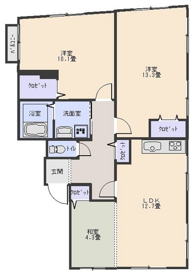 94平米2LDK205号室(契約済)の画像