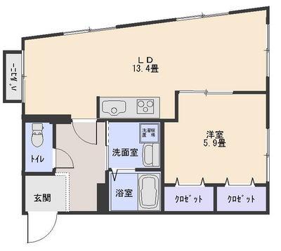 53平米1LDK404号室(募集中)の画像