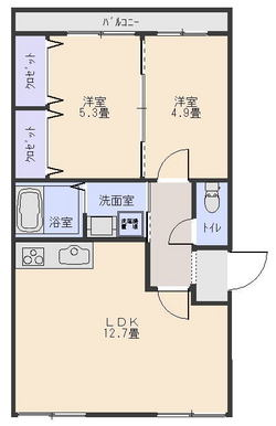 56平米2LDK403号室(契約済)の画像